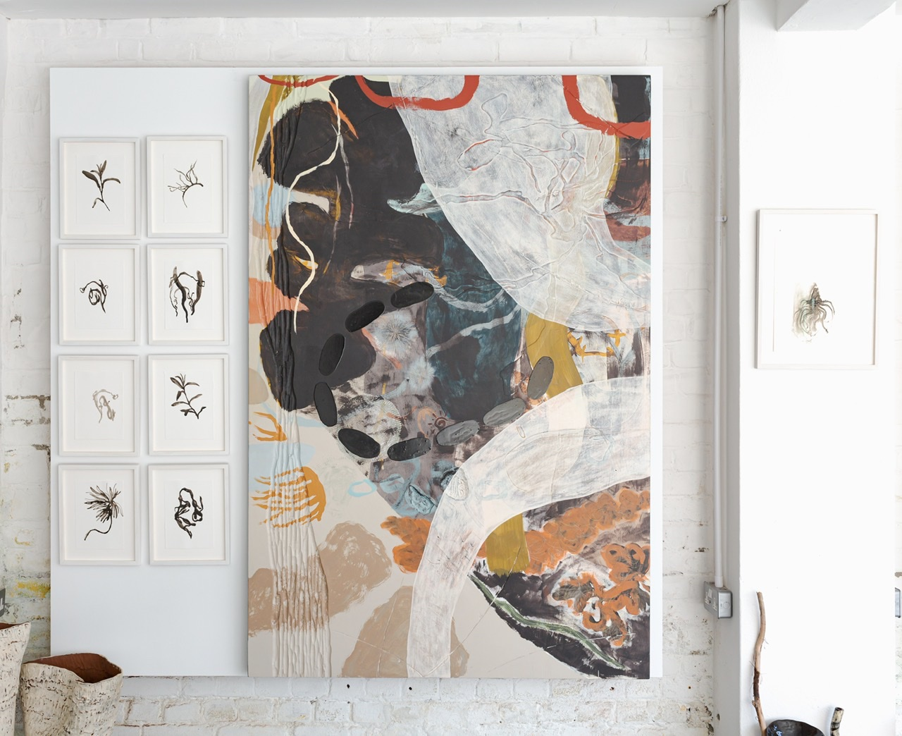 Large abstract painting and ink drawings by Kitty Hillier